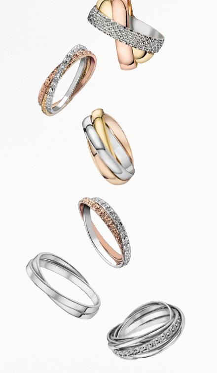 Alliances trois anneaux or jaune or gris or rose